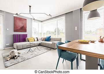 Wohnzimmer, Mit, Eßecke