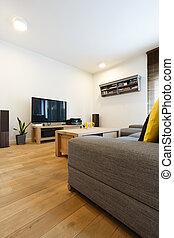 wohnzimmer, mit, weißes, wände