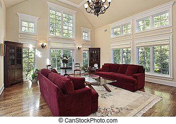 wohnzimmer, mit, zwei geschichte, windows