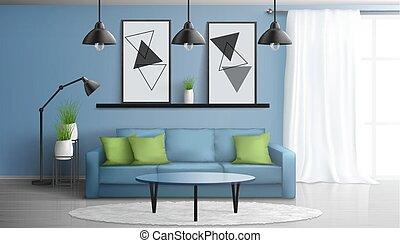 wohnzimmer, modern, bequem, vektor, inneneinrichtung