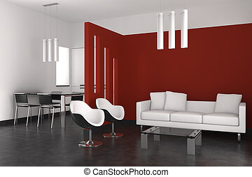 wohnzimmer, modern, essen, inneneinrichtung, kueche