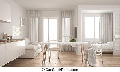 wohnzimmer, modern, inneneinrichtung, hintergrund, design, schalfzimmer, wohnung, klein, weißes, minimal, kueche
