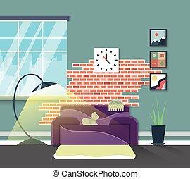 Wohnzimmer, Modern, Interior., Vektor, Wohnungseinrichtung, In, Wohnung,  Stil