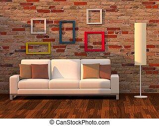 wohnzimmer, modernes zimmer