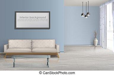 wohnzimmer, realistisch, vektor, geräumig, hintergrund