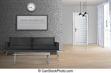 wohnzimmer, realistisch, vektor, geräumig, inneneinrichtung