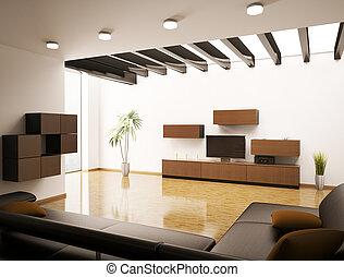 wohnzimmer, render, modern, inneneinrichtung, 3d