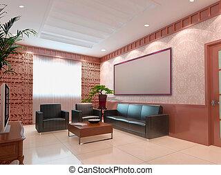 clipart von wohnzimmer render modern inneneinrichtung 3d csp5484282 suche. Black Bedroom Furniture Sets. Home Design Ideas