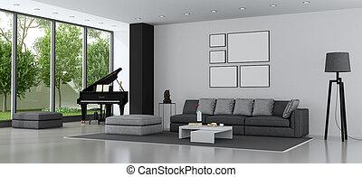 wohnzimmer, sofa, modern, flügel