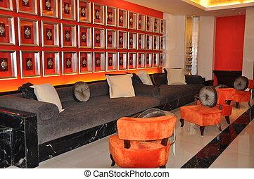Wohnzimmer, braunes sofa, modern, design, orange, schwarz ...