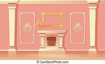 wohnzimmer, vektor, inneneinrichtung, kaminofen, karikatur