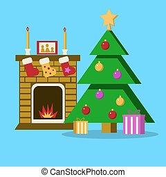 wohnzimmer, wohnung, abbildung, baum, vektor, fireplace., weihnachten