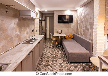 wohnzimmer, zimmer, hotel, inneneinrichtung, kombiniert, klein, kueche