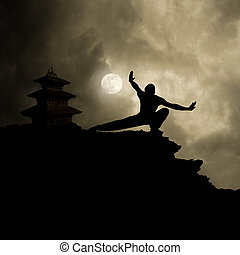 wojenna sztuka, kung, tło, fu