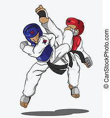 wojenny, taekwondo., sztuka