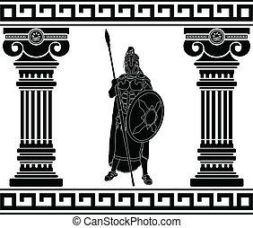 wojownik, czarnoskóry, kolumny