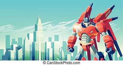 wojownik, metropolia, robot, cudzoziemiec, wektor, rysunek