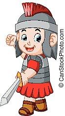wojownik, starożytny, na, przedstawianie, albo, gladiator