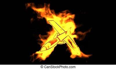 wojownik, symbol., płonący