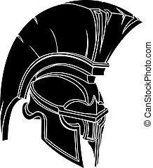 wojownik, trojański, hełm, spartan, ilustracja, albo, ...