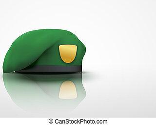 wojska, armia, lekki, beret, zielone tło, wojskowy, szczególny