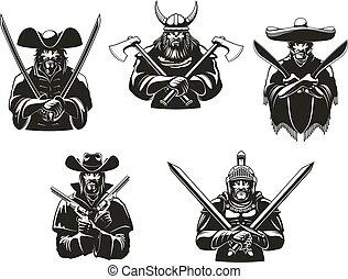 wojsko, albo, wojownicy, człowiek, amunicja, wektor, ikony