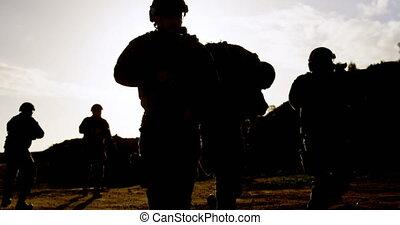 wojsko, podczas, wojskowy, trening, 4k