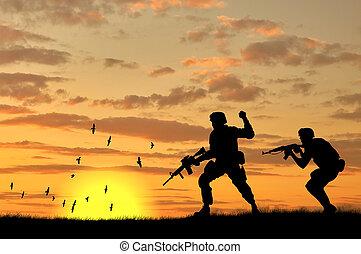 wojsko, sylwetka, dwa