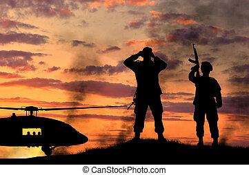 wojsko, sylwetka, helikopter