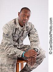 wojskowy, człowiek, czarny mundur