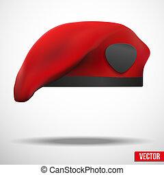 wojskowy, czerwony, beret, armia, szczególna siła