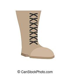 wojskowy, czyścibut, beżowy, isolated., armia, obuwie, na białym, tło., wojsko, obuwie