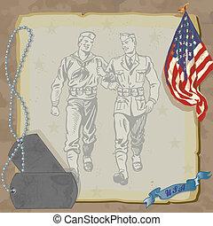 wojskowy, dom, pożądany, zaproszenie