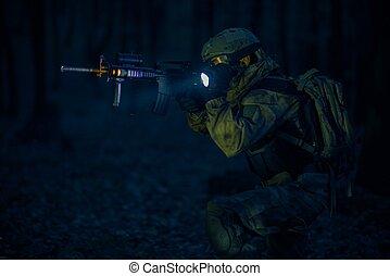wojskowy, działanie, noc