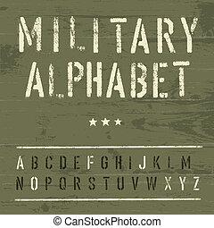 wojskowy, eps10, wektor, alphabet., rocznik wina