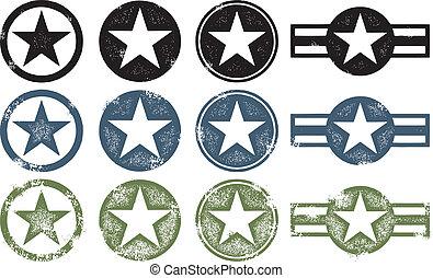 wojskowy, grunge, gwiazdy