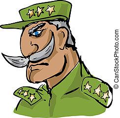 wojskowy, hand-drawn, stary, oficer