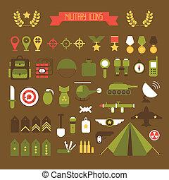 wojskowy, i, wojna, ikony, set., armia, infographic, projektować, elements., ilustracja, w, płaski, style.