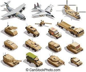 wojskowy, isometric, komplet, przewóz, ikony