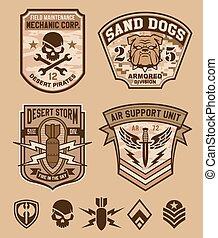 wojskowy, komplet, emblemat, pustynia, łata