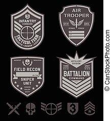 wojskowy, komplet, szczególna siła, łata