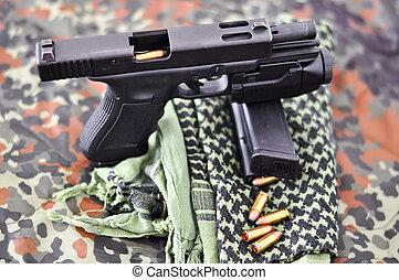 wojskowy, laser/light-module, pistolet ręczny, taktyczny