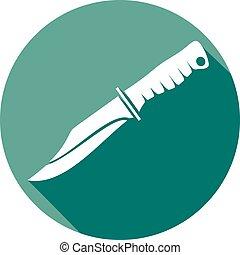 wojskowy, nóż, płaski, ikona