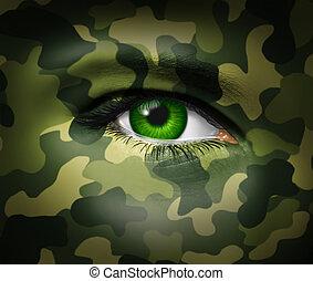 wojskowy, oko, kamuflaż