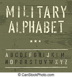 wojskowy, rocznik wina, alphabet., wektor, eps10