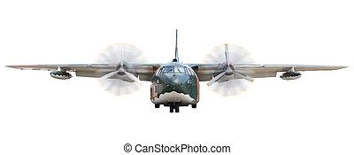 wojskowy, samolot, skreślić, z, bieżnia