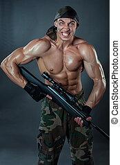 wojskowy, snajper, rifle., człowiek