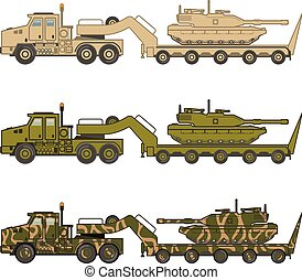 wojskowy, wektor, ciągnący, wózek, zbiornik