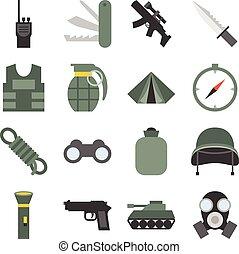 wojskowy, wektor, komplet, ikony