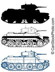 wojskowy, wektor, zbiornik